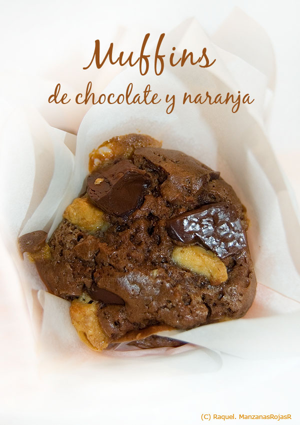 Muffins de chocolate y naranja. ManzanasRojasR