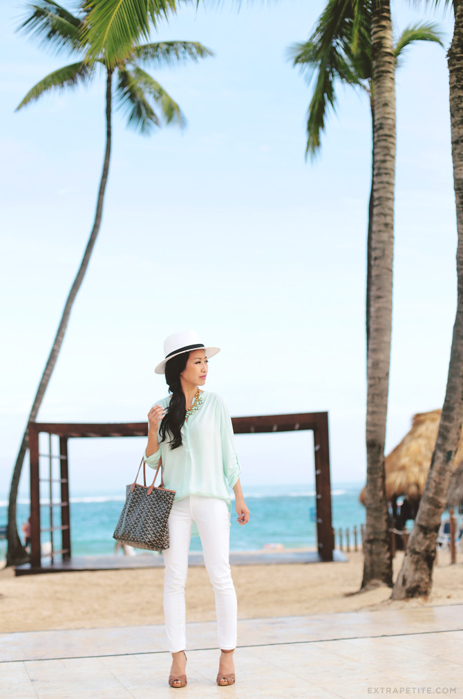 white jeans mint petite top