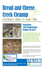 Volunteers needed April 11, 2015 to help cleanup Bread and Cheese Creek
