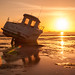 Low Tide, Boat and Flare, Southend by geezaweezer