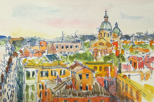 View from top of Spanish Steps, Rome, Italy
