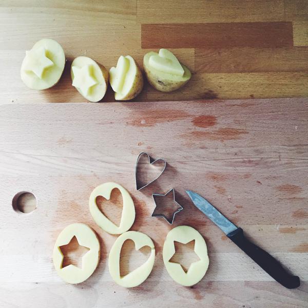potato stamping Valentines