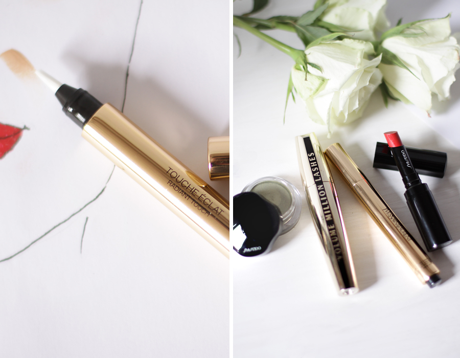 simple make up 4 products only lipstick creamy eye shadow shiseido volume million mascara l'oreal touche éclat ysl yves saint laurent drawing schminke style beauty beautyblogger berlin germany deutschland blogger ricarda schernus cats and dogs blog 2