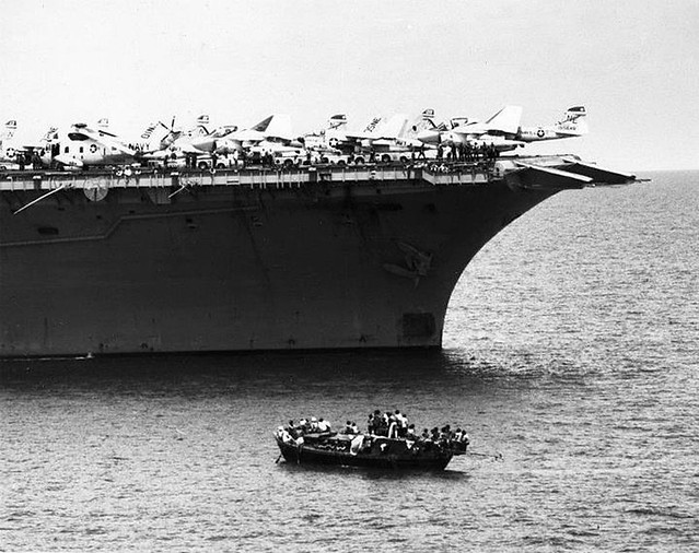 USS Ranger CV61 rescues 138 Vietnamese boat people from the South China Sea on March, 20, 1981