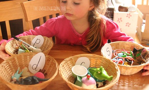Phonics Activity Sorting BasketS (Photo from The Imagination Tree)