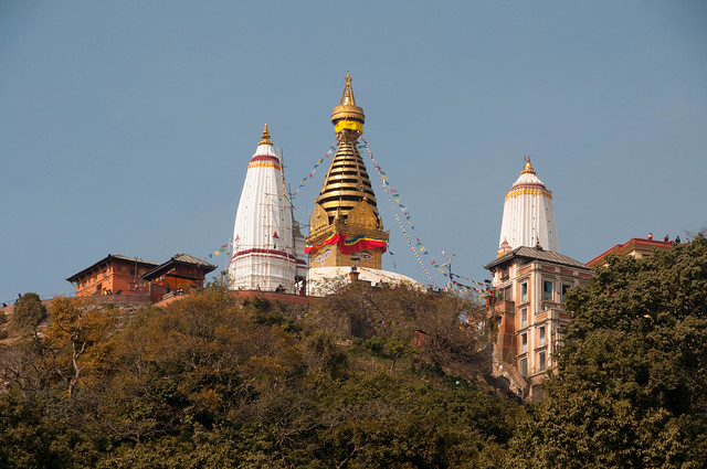 Svayambhunath Stupa on top of the hill