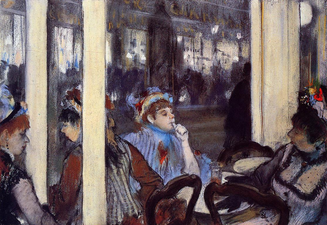 Women on a Cafe Terrace in the Evening by Edgar Degas - 1877