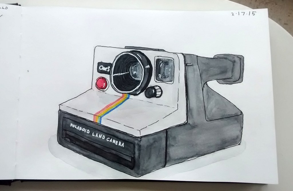 Sketch and painting of a Polaroid Land Camera