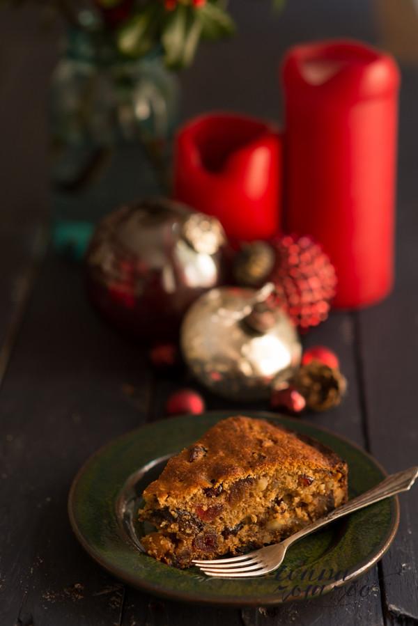 pastel de fruta navideño