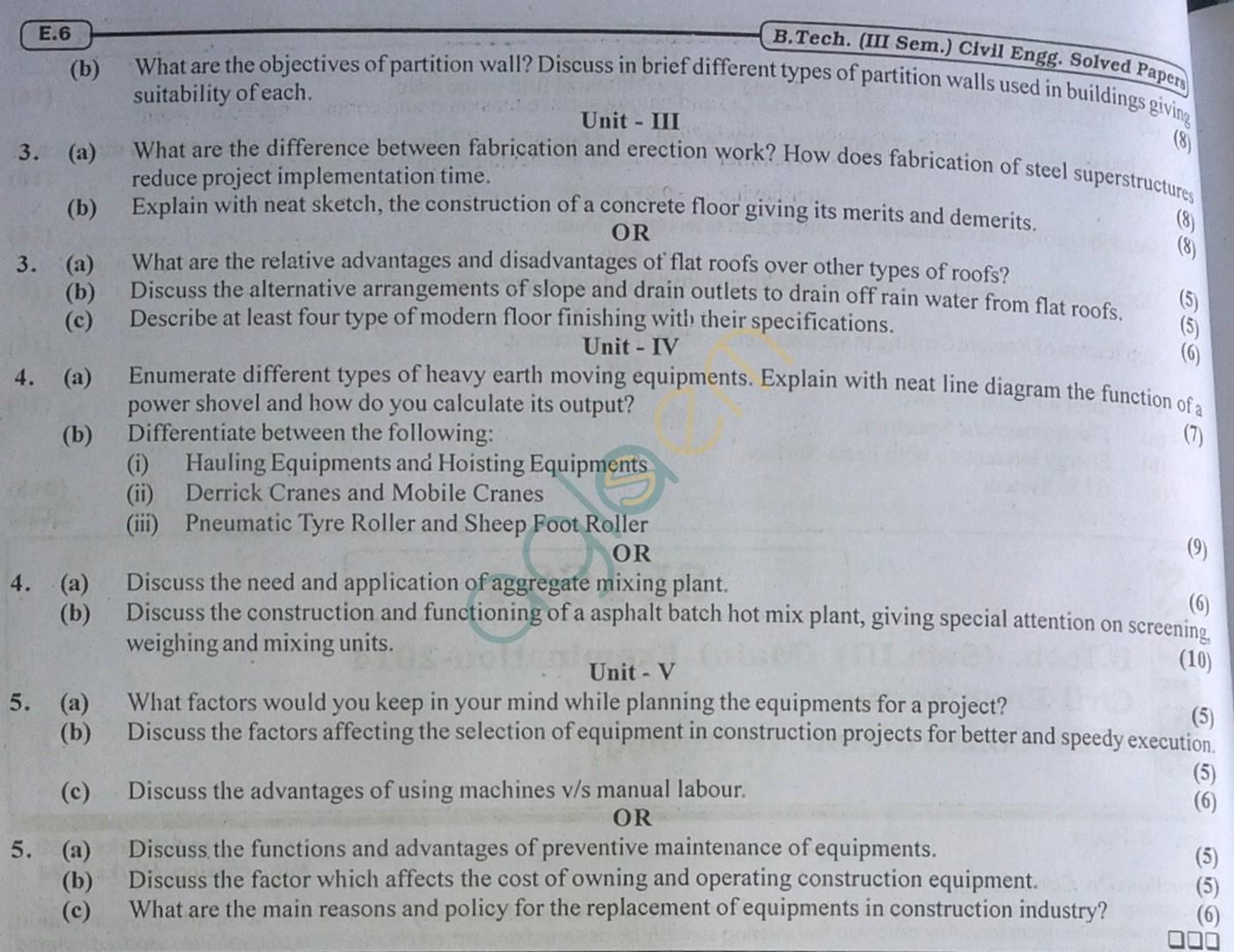 RTU: Question Papers 2014 - 3 Semester - CE - 3E1624