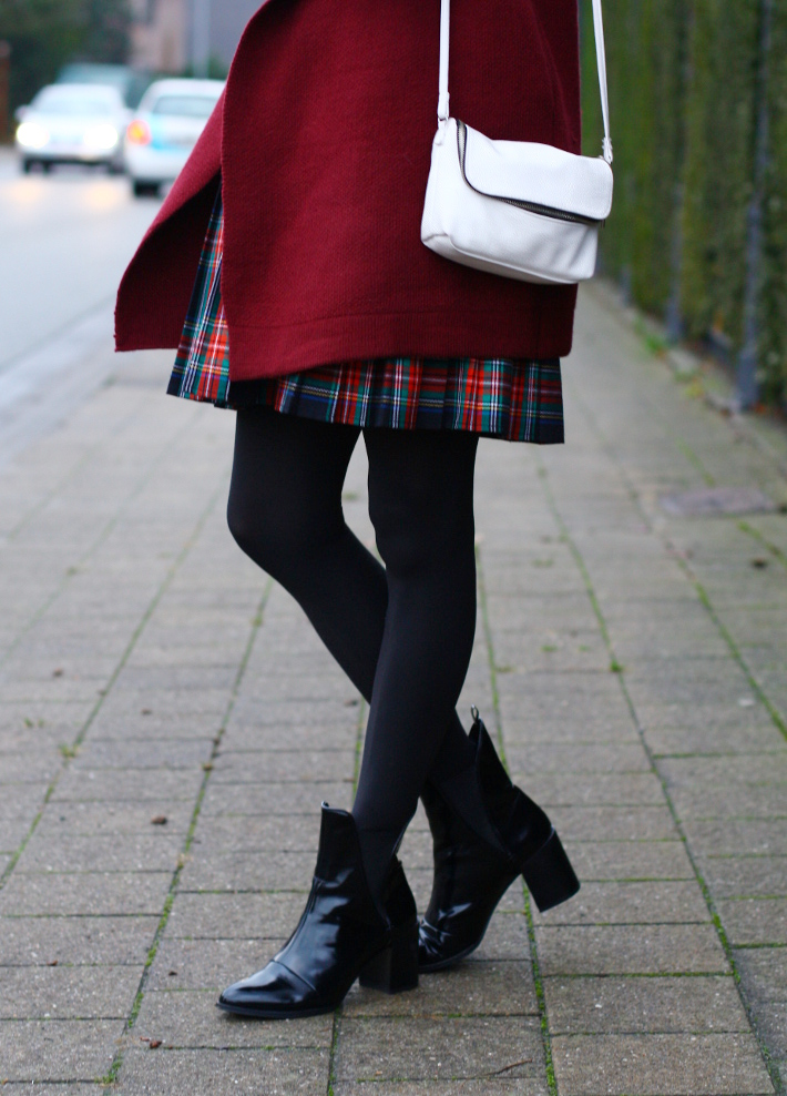 plaid skirt, patent chelsea boots