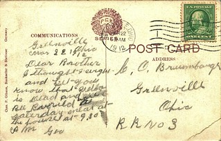 Darke County Children's Home Postcard (Back): March 22, 1912