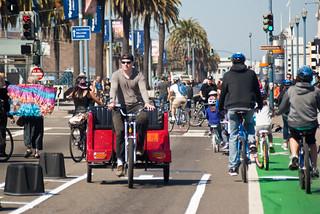 22381 Pedicab enters as families exit bike lane demo