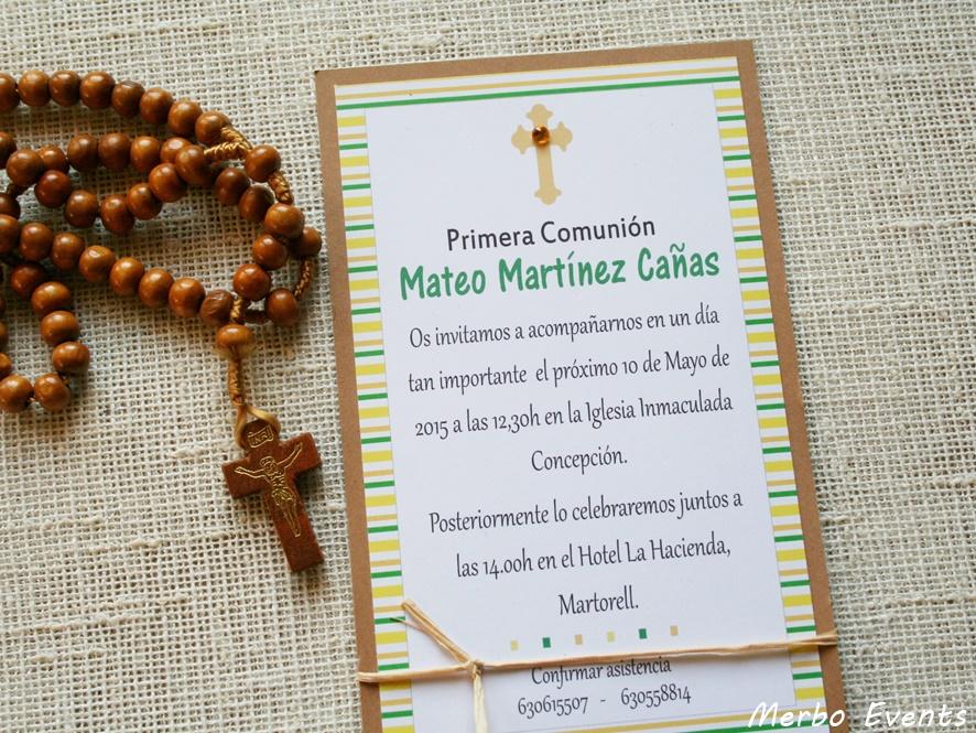Conjunto invitaciones comunión niño Modelo Ra Merbo Events