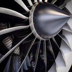 The fan blades of a GEnx aircraft engine, produced by General Electric Co. (GE), #Aviation #Aircraft #engine #GEnx