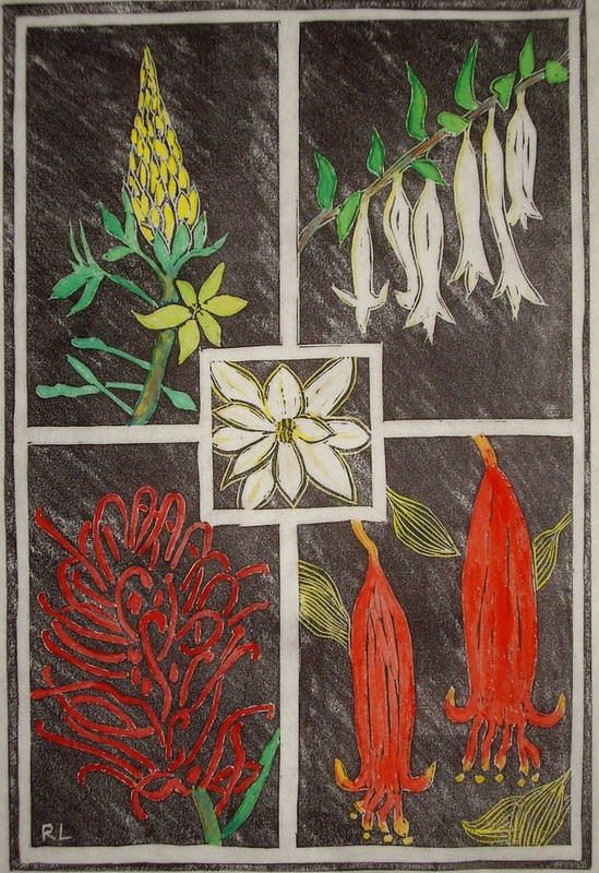 Linocut of Australian native plants