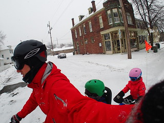 Winter cargo biking with kids