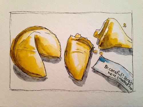 Lunchtime fortune cookies watercolor sketch