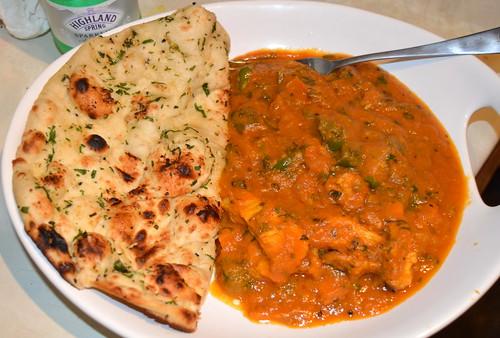 Chicken Tikka Karahi with Garlic and Coriander Bread