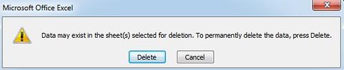 excel delete sheet