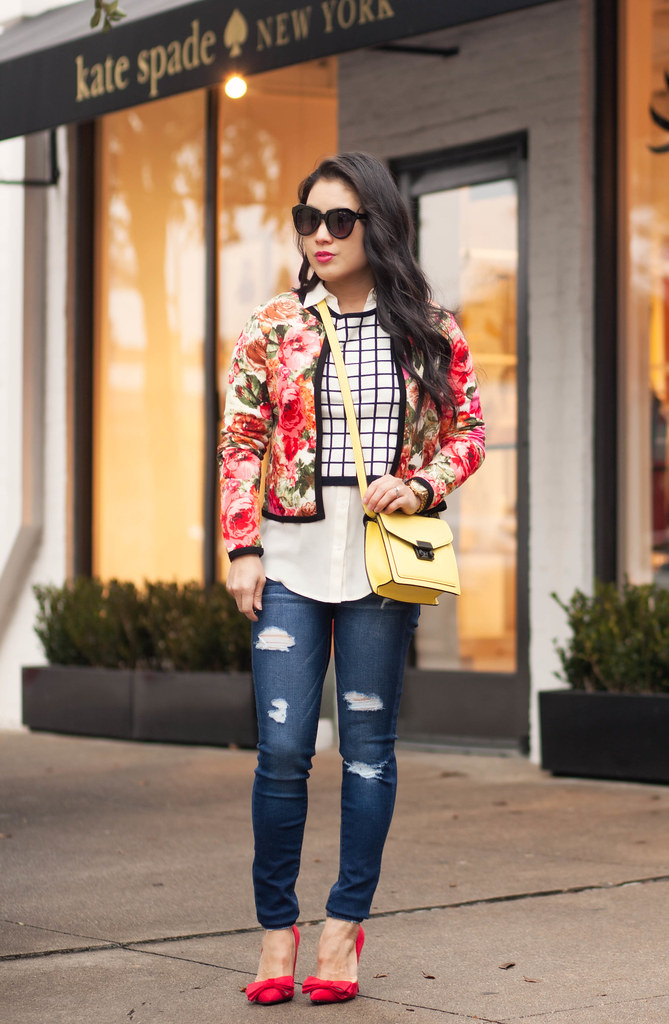 cute & little blog | petite fashion | floral jacket, windowpane grid crop top, ae distressed skinny jegging, red bow pumps, yellow crossbody bag | spring outfit