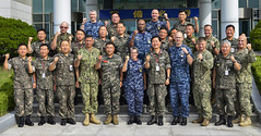 U.S. and Republic of Korea (ROK) senior enlisted leaders have a photo taken together during a Combined Joint Senior Enlisted Leaders Symposium on the ROK Fleet Base in Busan. (U.S. Navy/MC3 Wesley J. Breedlove)