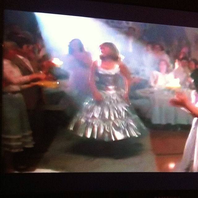 """Watching """"Peggy Sue Got Married"""" for the first time since I was a little kid. I remember loving Kathleen Turner's silver dress...fitting that I now own a massive silver petticoat as an adult!"""