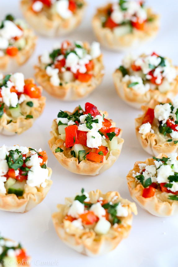 Mini hummus roasted pepper phyllo bites recipe cookin for Easy canape fillings