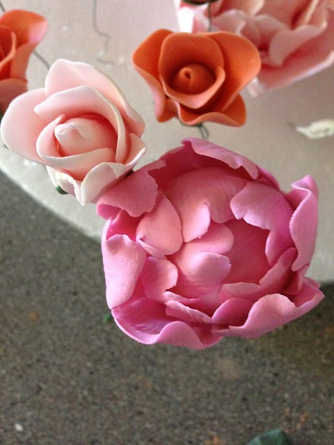 gum paste roses and peonies