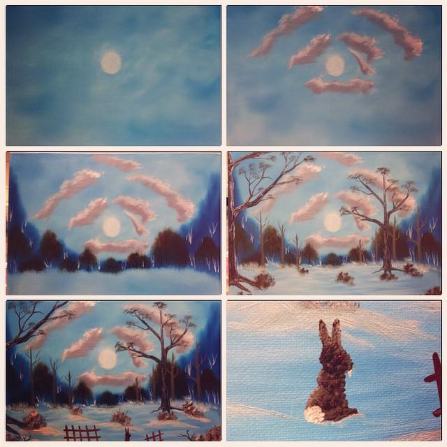 Painting, Bob Ross style. #joyofpainting #bunnicula