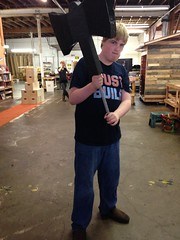 Avery with hatchet