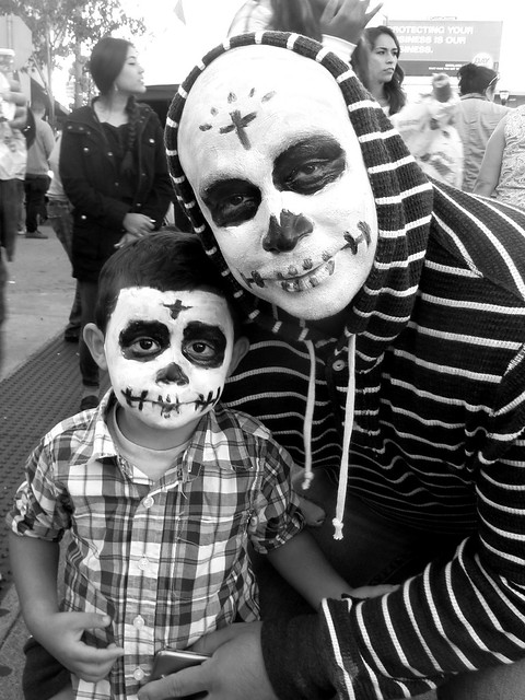 Day of the Dead Father and Child Skull Facepaint