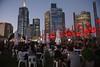 Red lanterns and skyline, Melbourne by jozioau