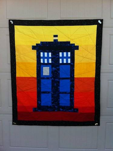 Tardis quilt finished! Just in time for the Dr. Who baby shower.