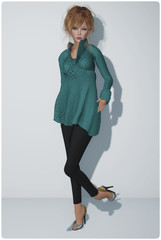 DC92 - Graffitiwear - Turquoise Snuggly Sweater & Loordes of London - Vermallion Slingbacks #7