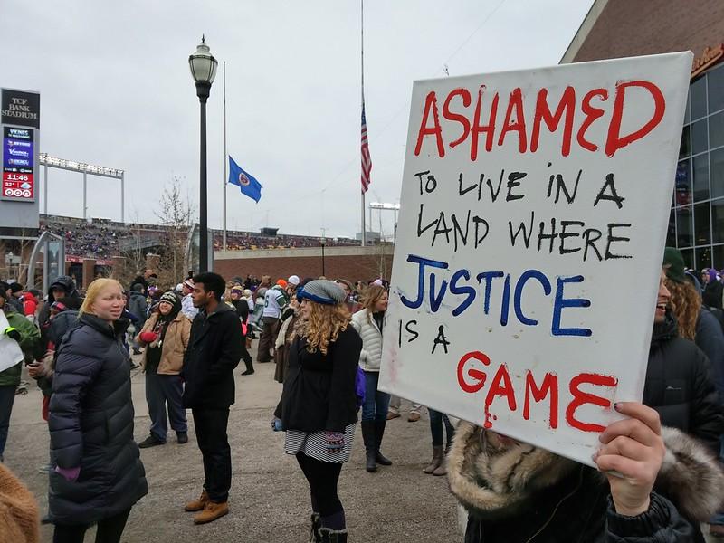 Black Lives Matter protest outside TCF Stadium