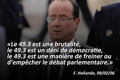 François Hollande. Art. 49.3 de la Consitution