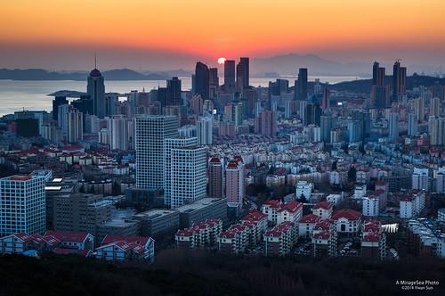 china sunset building skyline bay cityscape skyscrapers qingdao shandong fushan