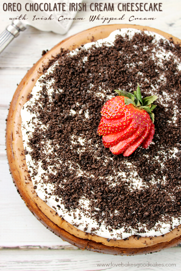 OREO Chocolate Irish Cream Cheesecake with a strawberry.