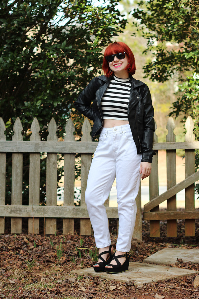 Blondie Inspired Outfit: Striped Top, Leather Jacket, and White Retro Jeans