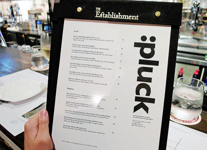 pluck menu