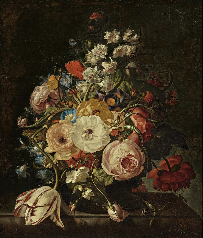 Rachel Ruysch - A still life of roses, a tulip, hyacinths, morning glories and other flowers in a vase, resting on a stone ledge