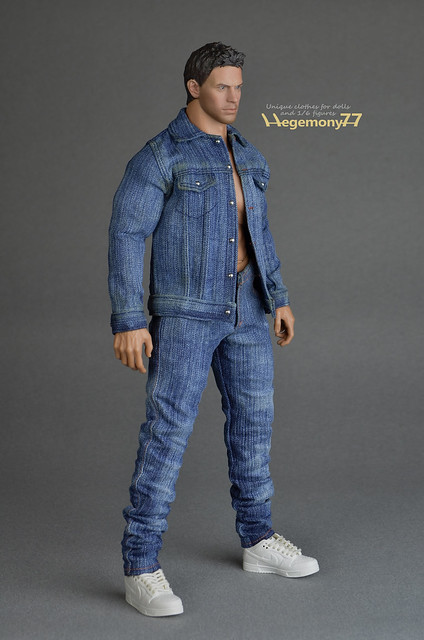 Sixth scale XXL hand washed slim fit denim jeans pants and jacket on Hot Toys TTM 20 muscular figure