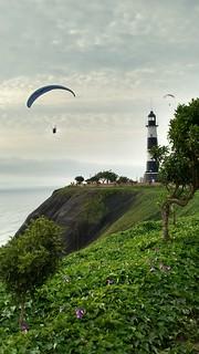 Paragliding Near Parque El Faro, Miraflores, Lima, Peru