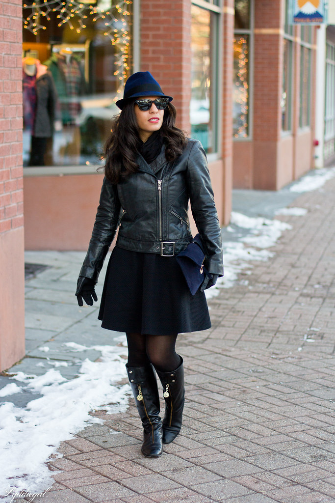 LBD, Leather jacket, Navy fedora.jpg