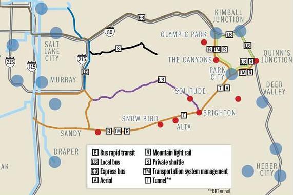 Transit maps SLC to mountains