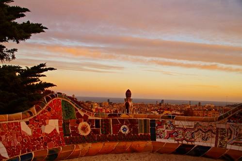 barcelona sunset catalonia gaudi antonigaudi parkgüell