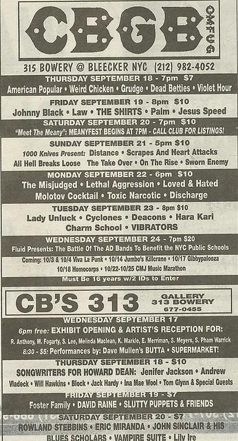 09/18/03 - 09/24/03 CBGB