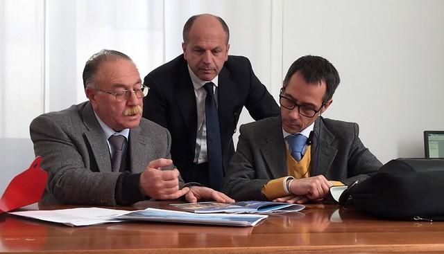 Da sinistra, Stama, Vitto, Pappalepore nella riunione a Roma, negli uffici del governo