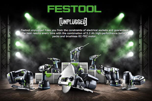 The Festool Unplugged range focuses on increased intelligence, efficiency and longer tool life